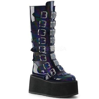 Shoes InStyle《三吋》美國品牌 DEMONIA 原廠正品龐克歌德漆皮金屬板厚底楔型及膝馬靴 有大尺碼『黑色』