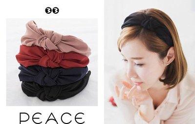 【PEACE33】正韓國空運進口。髮飾飾品 氣質緞布扭結皺褶 寬粗款 頭箍/髮箍/髮圈。現貨色