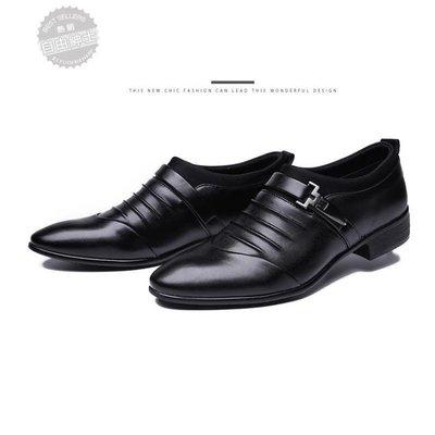 皮鞋男士皮鞋英倫風尖頭正韓青年套腳髮型師商務休閒棕色夏季正裝男鞋【免運】
