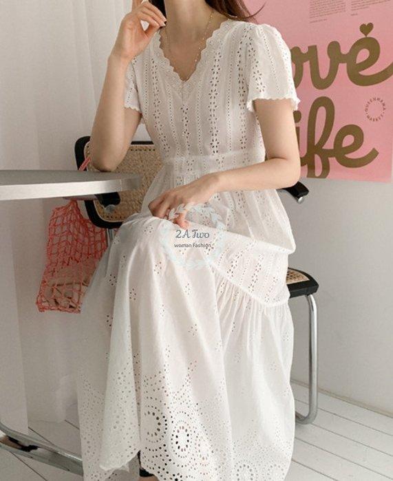 【2A Two】首爾🍒女神款⌒簍空繡花蕾絲短袖連身裙『BA0649』