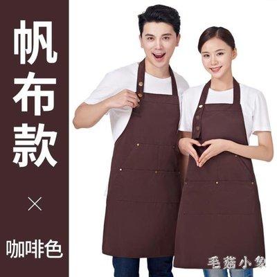 ZIHOPE 帆布圍裙韓版時尚咖啡店畫畫奶茶店廚房男女工作服女ZI812
