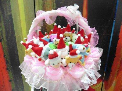 免運費~40支聖誕帽動物絨毛筆+蕾絲提籃~公仔玩偶筆~耶誕節送客禮贈品結婚禮小物二次進場婚宴囍糖來店禮迎賓禮滿額禮