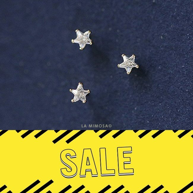 特價優惠款 AO21-法式手工輕珠寶-純9K黃金。五角鋯石鑽超迷你星星耳環 超百搭