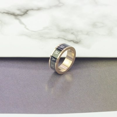 Lissom韓國代購~e 家懶人正韓可轉動黑色羅馬數字中食指戒指男女情侶裝飾指環尾戒
