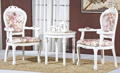 【DH】貨號B219-02《格瑞》白色古典浪漫布房間實木椅/洽談椅/圓茶几˙主要地區免運