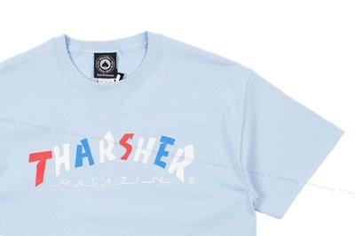 【 K.F.M 】THRASHER Knock-Off T-Shirt  美國圓筒Tee 經典Logo 短T 短袖 水藍