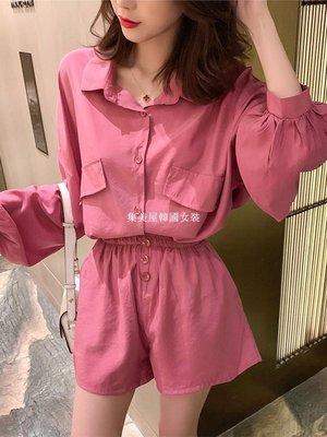 集美屋韓國女裝春季2019新款正韓蝙蝠袖襯衫+高腰短褲休閒套裝女時尚洋氣兩件套