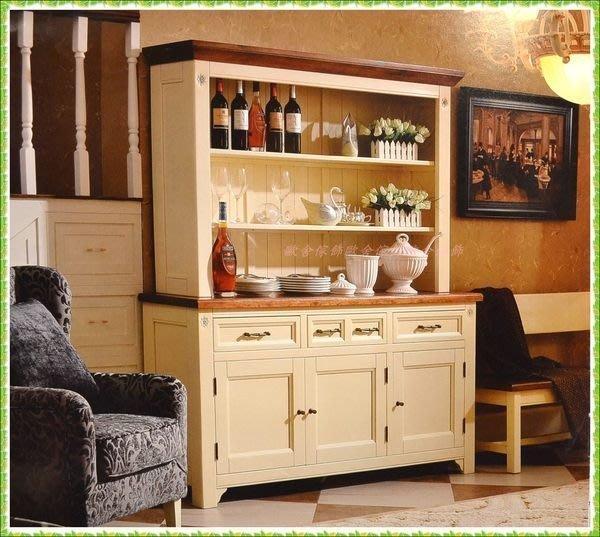 【歐舍家飾】英式鄉村風 白色雙色實木三門開放式六尺碗盤櫃電器櫃 原木餐櫃書櫃展示櫃收納櫃儲物櫃隔間櫃民宿