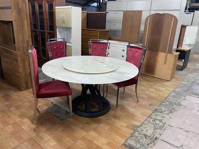 北歐風奢侈 大理石 原石 餐桌椅組 + 6椅+轉盤~餐桌 石面餐桌 餐桌椅組 會客桌 招待桌 全虹二手傢俱-彰化二手傢俱