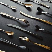 餐具組合 名為綽約。新品leon烏金色歐式家用不銹鋼餐具套裝西餐牛排刀叉勺