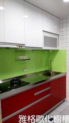 【雅格櫥櫃】工廠直營~一字型廚櫃、流理台、廚具、不鏽鋼檯面、五面結晶門板、櫻花三機