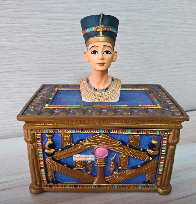 點點蘑菇屋 歐洲精品埃及艷后置物盒 珠寶盒 收納盒 首飾盒 藝術擺飾 埃及古文 圖騰 尼羅河 現貨
