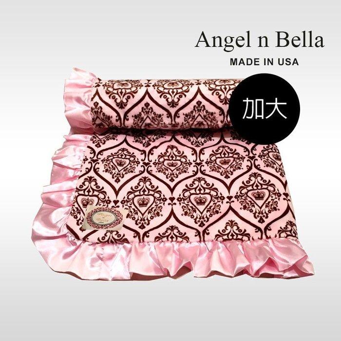 ☆°Angel n Bella.╯☆°【美國製】頂級時尚動物紋/玫瑰花苞 加大成人毯-粉紅皇冠(生日禮)