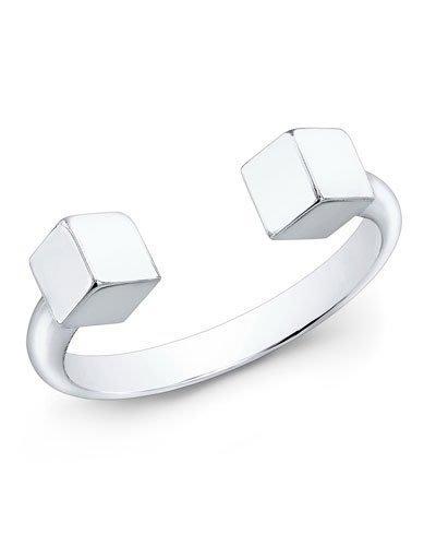 Cali Style*全新正品[Vita Fede]Ultra-Mini 銀色立體方塊 指節戒指~5號