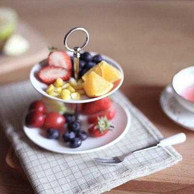 風  陶瓷製 英式下午茶點心雙層盤 1人份小蛋糕甜點水果2格盤 甜食餐廳餐具2層盤 餅乾零食陶瓷盤 白瓷盤