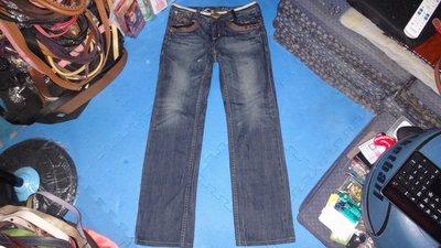 ~保證真品 Big Train 藍色牛仔直筒褲女款S號~便宜起標無底價標多少賣多少