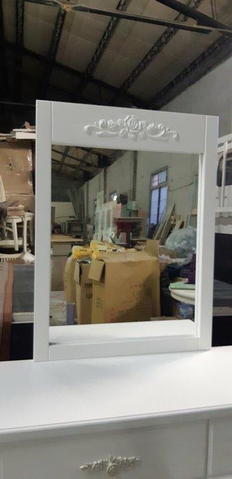 美生活館  定製家具 客製化 古典鄉村 全紐松原木 純白色化妝台+鏡框  鏡台 梳妝台 書桌 掛鏡 玫瑰裝飾 --掛鏡