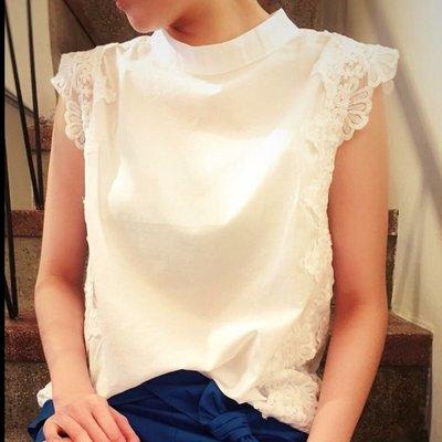 正韓 小領版型優雅氣質蕾絲緹花邊上衣 賣黑
