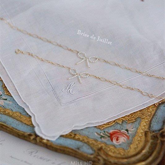 FJ73-法式手工輕珠寶-夏洛特的蝴蝶結。迷你珍珠蝴蝶結choker頸鏈/項鍊/手鍊 va agete小香woc
