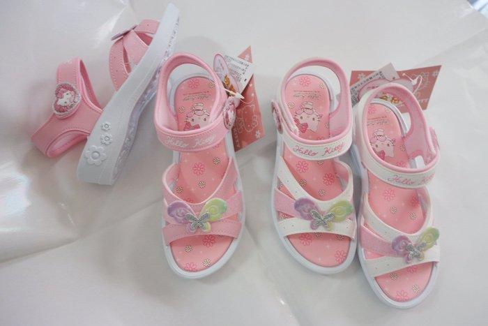 鞋之誠*Hello Kitty819226 小甜心可愛蝴蝶 舒適低跟涼鞋 *粉  白色【台灣製】17~23號 CM