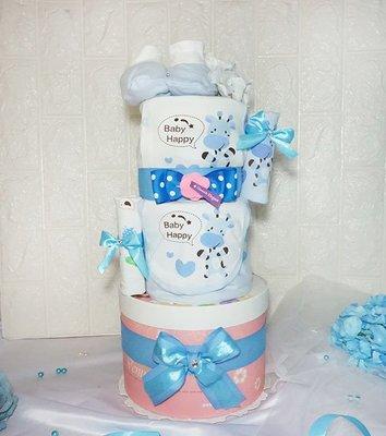 禮物型尿布蛋糕~ 蛋糕造型的尿布搭~ 屬於你個人的蔚藍風格~ 尿布蛋糕打開後,下層蛋糕盒還有驚喜~