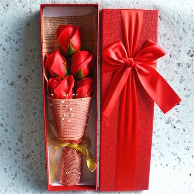 香皂花5朵玫瑰禮盒送女生送閨蜜創意圣誕節情人節七夕生日禮物  AB2297