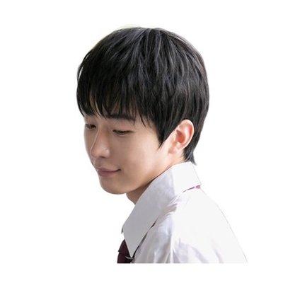 整頂 假髮 真髮絲-蓬鬆自然黑色直髮男假髮73vb14[獨家進口][米蘭精品]