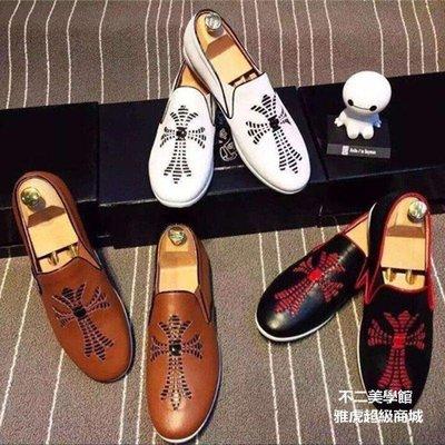 【格倫雅】^套腳休閑男鞋 進口真皮個性印花休閑懶人男鞋 男鞋45555[g-l-y88
