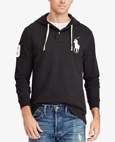 Polo Ralph Lauren 大馬 長袖 polo衫 帽T 成人款 黑色