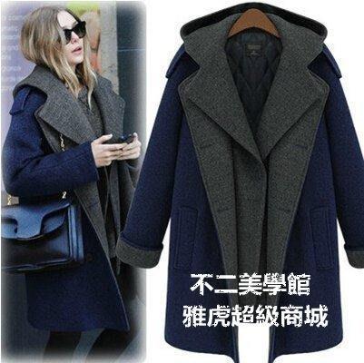 【格倫雅】~秋冬女裝 假兩件連帽 毛呢外套 冬雙排扣大衣 加棉加厚歐美20909[g-l-y