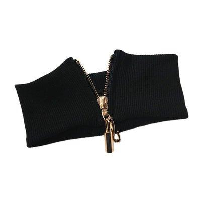 Lissom韓國代購~嘀咕家個性金屬拉鍊圍脖黑色針織彈力假領子寬版CHOKER頸鍊項鍊女