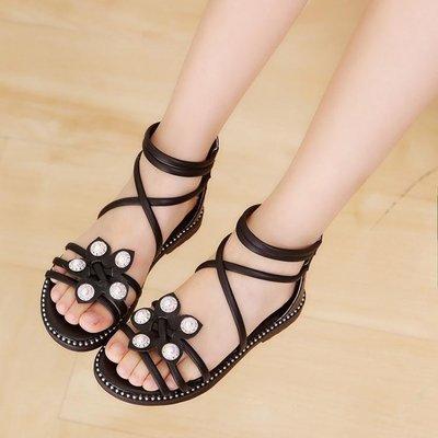 哆啦本鋪 公主鞋女童涼鞋新款正韓兒童女羅馬涼鞋中大童涼鞋女孩公主鞋子 D655