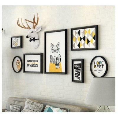 客廳裝飾畫組合沙發背景牆現代簡約壁畫創意牆畫北歐風格裝飾掛畫(常規組/不含鹿頭)_☆找好物FINDGOODS☆