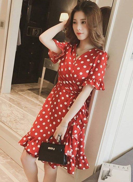 【韓國姐妹淘】韓國代購 韓版 荷葉點點短袖洋裝 2018