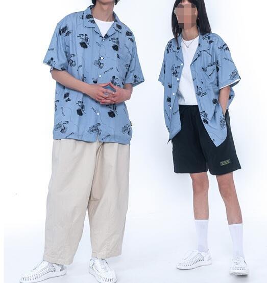 FINDSENSE X 男款 時尚 寬鬆舒適日系男裝 復古 圖案夏季短袖男士襯衫短袖男士襯衫 衛衣襯衫上衣