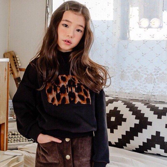 上衣豹紋印花保暖高領衛衣中大女童衛衣加絨加厚2018秋冬新款--崴崴安