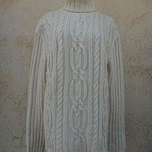 jacob00765100 ~ 正品 義大利製 Benetton 米色紐花 羊毛 高領毛衣 size: L