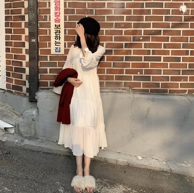 莎芭 韓版洋裝  雪紡洋裝 中長款高腰顯瘦百褶長袖連身裙 打底裙 長裙