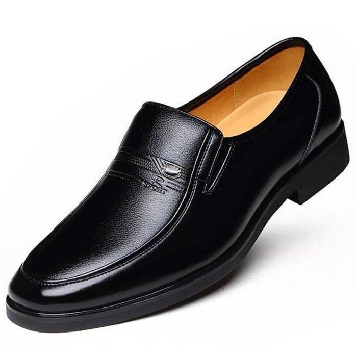 皮鞋季加絨刷毛保暖男士皮鞋皮質全館免運中老年人男鞋商務正裝休閒爸爸鞋子一件免運