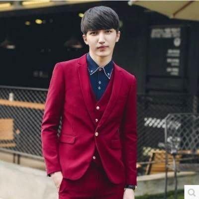 西服套裝含西裝外套+西裝長褲(三件套)-韓版簡約合身設計面試男西裝5色73hc88[獨家進口][米蘭精品]