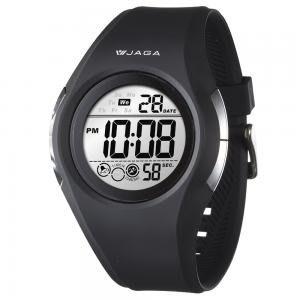 【元電】【JAGA 專賣店】台灣設計 捷卡 M984-A(黑) 電子錶 簡單時尚 黑紅 整點報時 碼錶計時 倒數計時