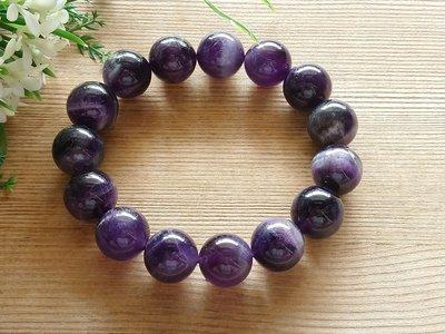 簡單Simple。現貨。1060號純天然夢幻紫水晶圓珠水晶手珠手鍊。14MM
