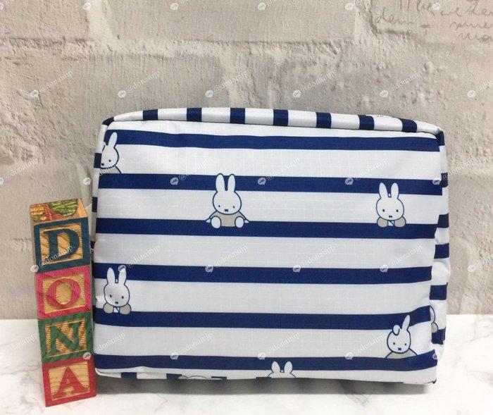 【Dona日貨】日本正版 Miffy米菲米飛兔藍白橫條紋 行李箱對應 可收納摺疊後背包 B39