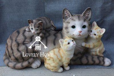 (台中 可愛小舖)日式鄉村風仿真貓波麗娃娃貓媽咪帶小貓咪 樹脂  趴姿貓 貓擺式 店面擺飾櫃檯擺飾民宿餐廳居家