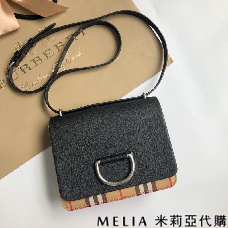 Melia 米莉亞代購 美國精品代購 巴寶莉 戰馬 女士秋冬新款 D字扣環包 雙色皮革 可斜背 單肩 黑色