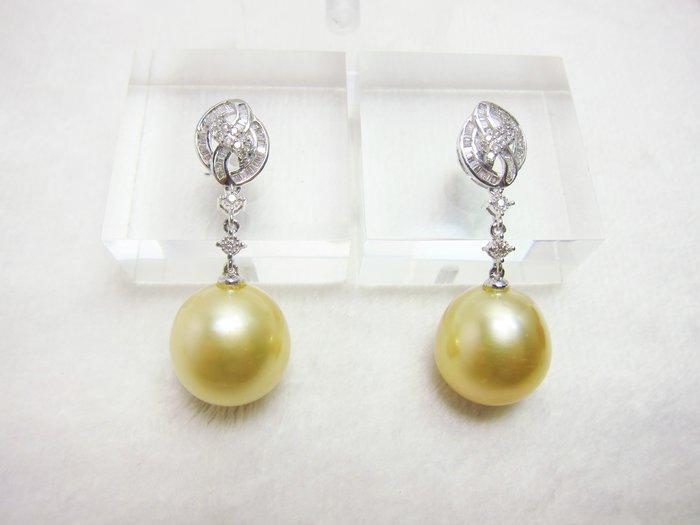14.5-14.6mm 南洋黃金珠鑲鑽耳環【元圓珠寶】
