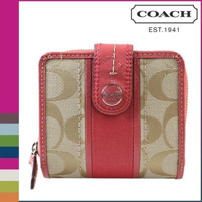 【COACH - 48774】100% 全新正品 經典款 C LOGO 兩折 對折 皮夾 中夾 - 粉紅色系【零錢袋款】