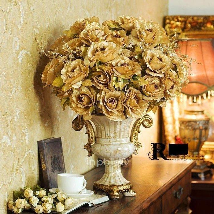 INPHIC-歐式巴比倫金邊玫瑰聖托歐式花瓶 仿真花套裝