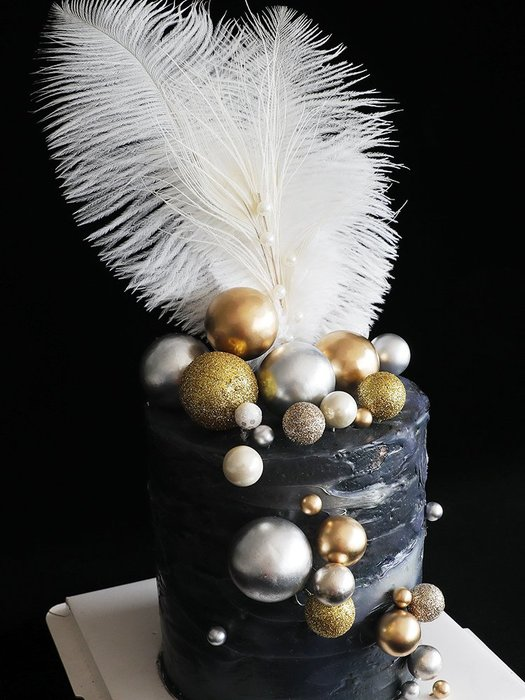 烘培蛋糕裝飾 女神生日網紅派對裝扮仿翻糖質感奢華金屬圓球插件 裝飾 品 擺件 聖誕節裝飾  新年裝飾