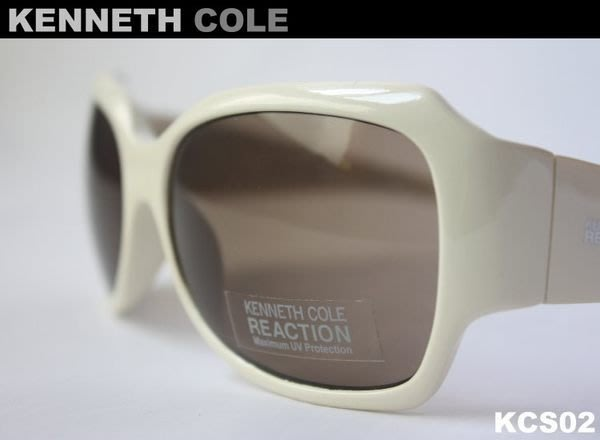 【KENNETH COLE】100%全新正品 復古 太陽眼鏡/ 墨鏡- 米白色【大鏡面】*KCS02